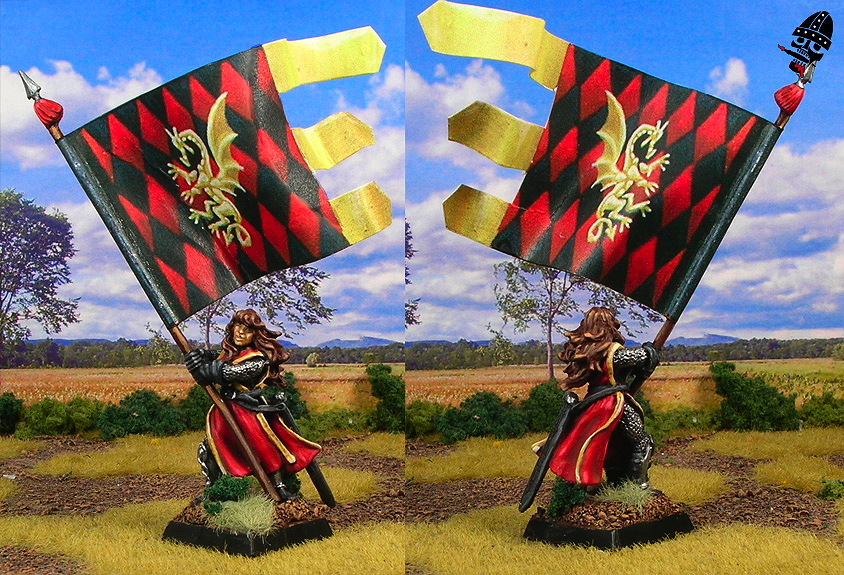 Bretonnian Army Standard Bearer from Reaper Miniatures painted by Neldoreth - An Hour of Wolves & Shattered Shields