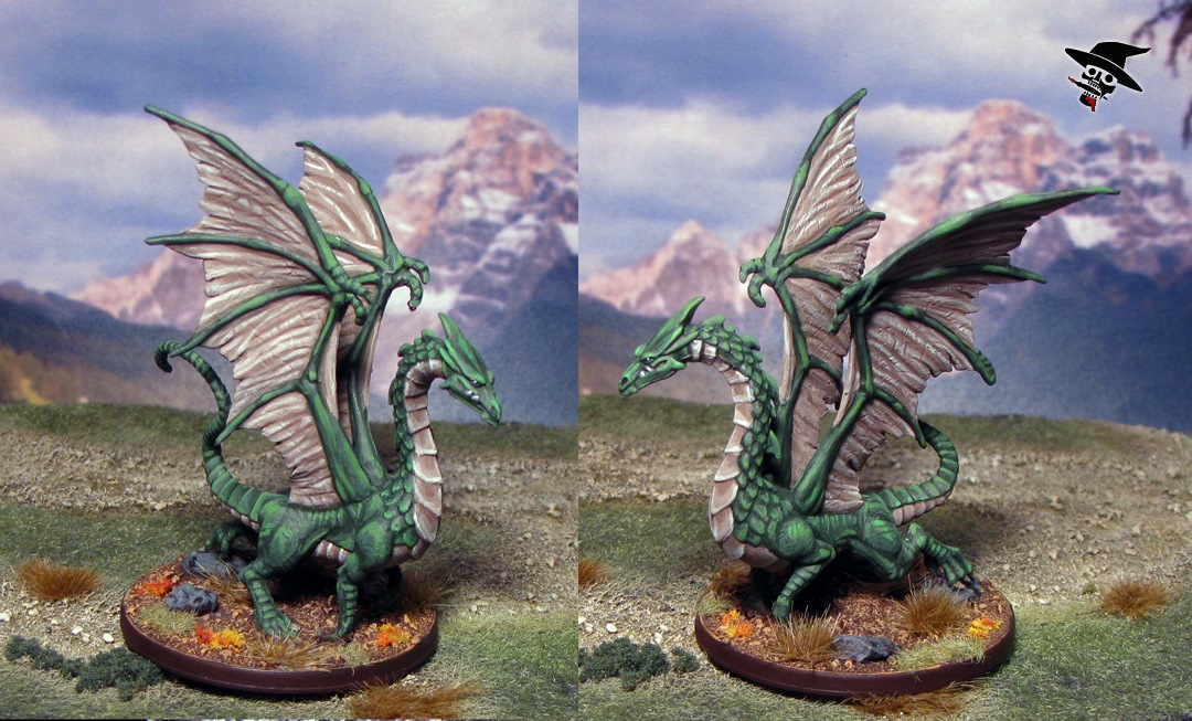 The Green Dragon Venomfang from Wizards of the Coast painted by Neldoreth - An Hour of Wolves & Shattered Shields
