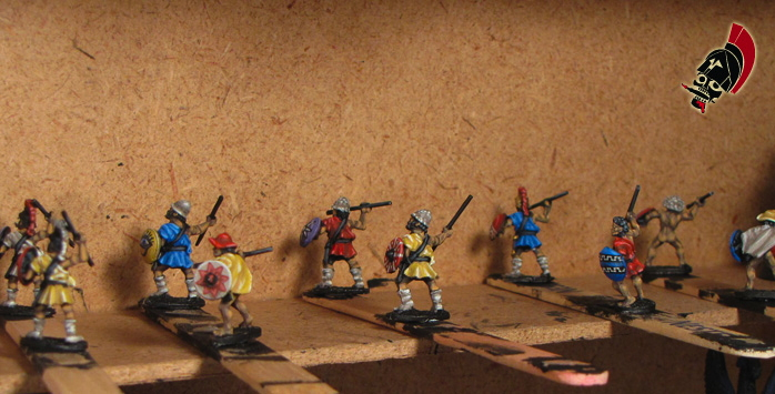 Xyston unpainted peltasts on popsicle sticks