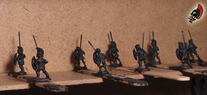 Unpainted Xyston Hoplites on sticks