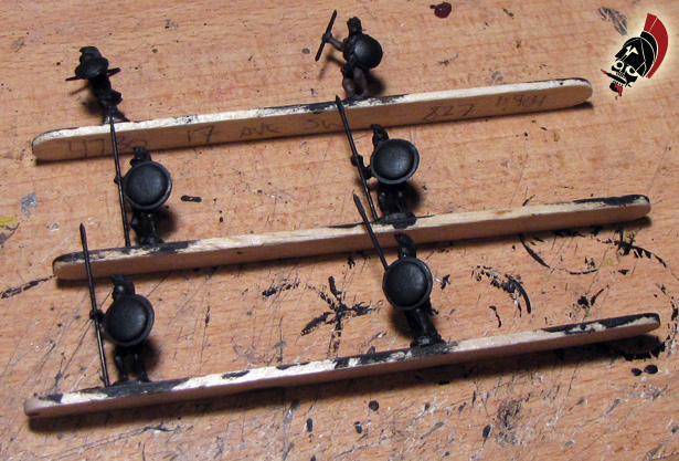 Xyston unpainted hoplites on popsicle sticks